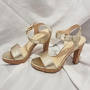 Nine West Gold and Cork High Heel Platform Sandals